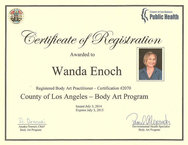La County Body Art Program 001 Cosmetic Enhancement Clinic